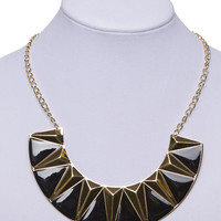 Semi-Circle Two-Tone Bib Necklace | Wet Seal