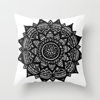 Aztec Snowflake Throw Pillow by Brenna Whitton