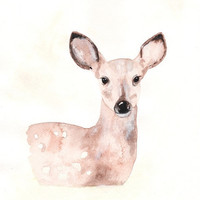 Fawn/Deer/Tan/Cream/Beige/Brown Watercolor Print by kellybermudez