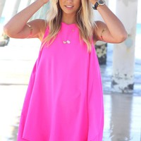 Hot Pink Flare Sleeveless Dress with Round Neck