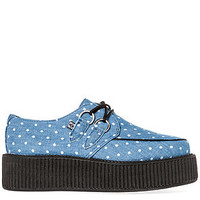 The Mondo Sole Creeper in Blue and White Polka Dot