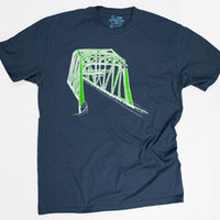 Truss Bridge (Green on Blue)