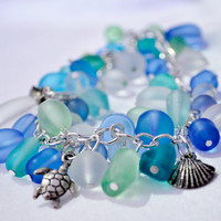 Sea glass look beach turtle and shell bracelet