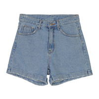 Blue Jean Shorts With Damaged Roll-Up Hems