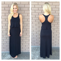 Jersey T-Back Maxi Dress - BLACK