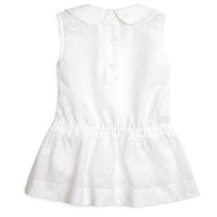 Girls' Sleeveless Eyelet Rounded Collar Blouse