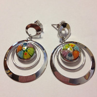 Murano Sterling Earrings Silver Floral Flowers NIB New Boxed Designs by Aeaa K. Italy Italian Glass Vintage 925 Jewelry Boho Gift Mosaic
