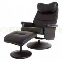 GFA Amsterdam Black Faux Leather Swivel Recliner Chair with Stool