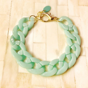 Chunky Chain Bracelet Mint Green Acrylic Thick Statement Michael Kors Marc Jacobs Celebrity Inspired