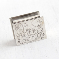 Antique Sterling Silver Box - Tiny Monogrammed Edwardian Keepsake, Initialed MA Etched Flower Vine & Butterfly Presentation Jewelry Box