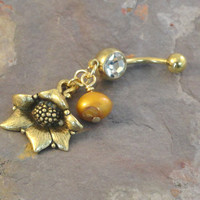 Gold Sunflower Belly Button Jewelry Belly Ring with Pearl