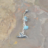 Belly Button Jewelry Belly Ring with Hummingbird and Blue Flower