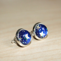 Blue space earrings with holographic stars and glitter - 12mm post star earrings