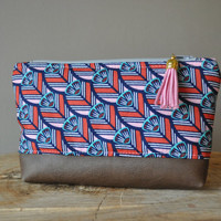 The Ambrosia Pouch - Cosmetic Bag, Make-Up Bag, Leather Bottom Tassel Clutch