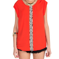 Center Panel Short Sleeve Blouse