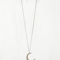 Ax + Apple Womens Moon Necklace - Silver, One Size