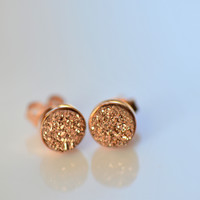 Tiny Rose Gold Druzy Studs