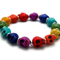 Rainbow Turquoise Stone Skull Beaded Stretch by CalliopeKitten