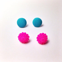 "Handmade ""Fun in the Sun"" Neon Dahlia and Fabric Button Earring - Fuschia and Blue electric day carnival EDM festival gear"