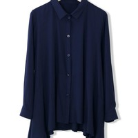 Navy Cool Touch Asymmetric Blouse