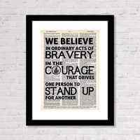 Divergent Quote We Believe In Ordinary Acts Of Bravery Dauntless Manifesto Typography Dictionary Art Print on Dictionary Page