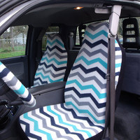 1 Set of Chevron Print Car Seat Covers and 1 Piece Steering Wheel Cover Custom Made.