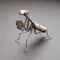 "Mechanical Praying Mantis ""Mantis No 19 "" Sculpture Recycled Watch Parts Clockwork Mantis Mantid Watch Stems Faces Insect A Mechanical Mind"