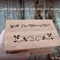 music box, jewelry box, anniversary gift, musical jewelry box, will you marry me, engagement ring box, engagement ring, personalized