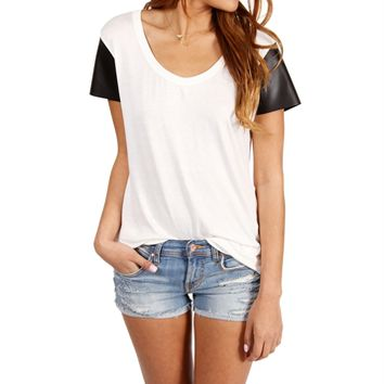Promo-BlackWhite Faux Leather Sleeves Top