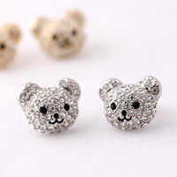 teddy bear stud earrings, silver | bythecoco