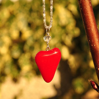 Red Fused glass Heart Pendant with crystal by GeckoGlassDesign
