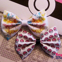 Pokemon Eevee Evolutions and Pink Pixel Pokeball (2) Hair bows Handmade unique Fabric Geeky Kawaii gamer Bow gift set