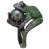 Modern Tsavorite Pearl Ruby Sapphire Diamond Blackened Gold Frog Ring