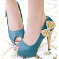 Wholesale Fine with shallow mouth fish in a bow mouth waterproof rivets high-heeled shoes CZ-0706 green - Lovely Fashion