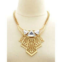 GEOMETRIC RHINESTONE CUT-OUT BIB NECKLACE