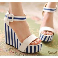 Wholesale 2011 Japanese navy style stripe buckle platform wedge sandals CZ-0675 blue - Lovely Fashion