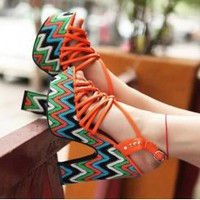 Wholesale 2012 new platform hallow out peep toe platform wedge sandals CZ-0666 orange - Lovely Fashion