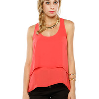Papaya Clothing Online :: BACK LACY CHIFFON LAYERING TOP