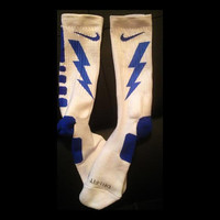 Bolt Blue Side Lightning Design on Custom Nike Elite Socks
