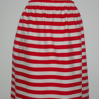Red and White Stripe Maxi Skirt