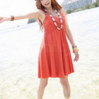 Orange Red Cotton Blended Spaghetti Straps Women&#x27;s Summer Dress -  Milanoo.com