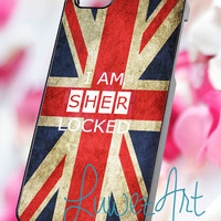 I am Sherlocked union jack flag - iPhone 4/4s/5 Case - Samsung Galaxy S2/S3/S4 Case - Blackberry Z10 Case - Ipod 4/5 Case - Black or White