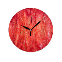 Wood WALL CLOCK UNIQUE art design decor rich texture clock handmade wall clock home decor Hand painted wall decor gold orange red yellow