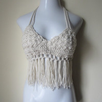 Ivory halter top, Crochet fringe top, festival top, cropped top, halter top, FESTIVAL CLOTHING, coachella, burning man, EDC, clubwear,