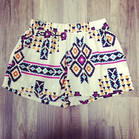 Ivory Tribal Shorts With Pockets