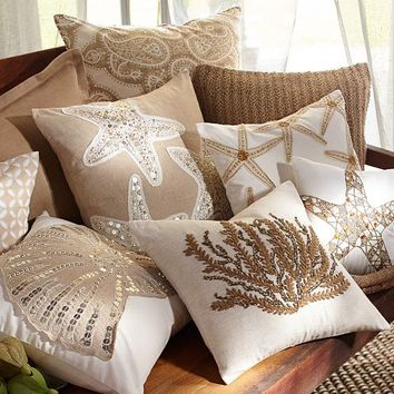 Sequin Coastal Embroidered Pillow Covers