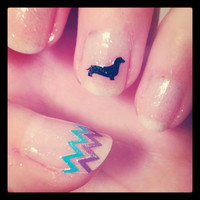 Dachshund Nail Decals 20 doxies 20 zigzags by Craftlockian