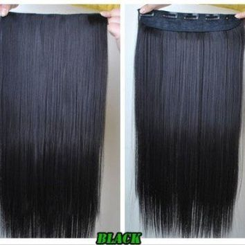 "24"" Long Straight Clip on in Hair Extensions One Piece for Full Head 6 Colors (black)"