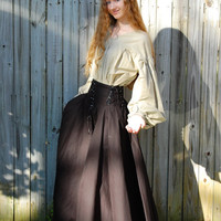 Full-Length Circle Skirt with Yoke and Lacing