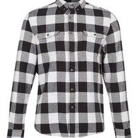 Monochrome Buffalo Check Long Sleeve Flannel Shirt